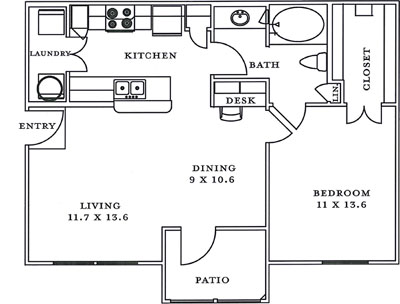 A1 - One Bedroom / One Bath - 721 Sq. Ft.*