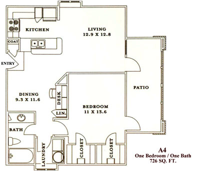 A4 - One Bedroom / One Bath - 726 Sq. Ft.*
