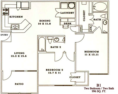 B1 - Two Bedroom / Two Bath - 996 Sq. Ft.*