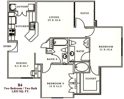 B4 - Two Bedroom / Two Bath - 1,033 Sq. Ft.*