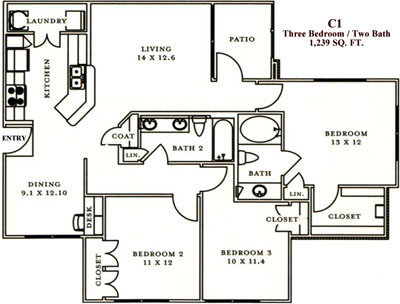 C1 - Three Bedroom / Two Bath - 1,239 Sq. Ft.*